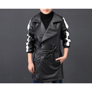 Boys Waist Belt Double Breast Long Black Leather Trench Jacket