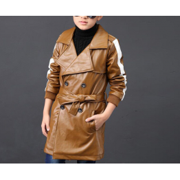Kids Windbreaker Lapel Brown Leather Trench Jacket