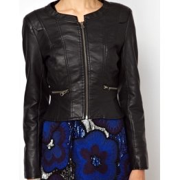 Womens Collarless Zip Front Real Black Leather Jacket