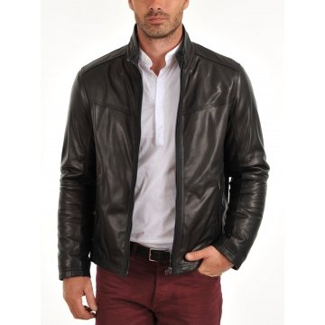Mens Genuine Fashion Lightweight Black Leather Jacket