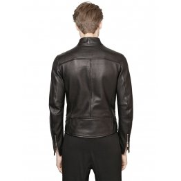 Black Motorcycle Style Leather Jacket for Men