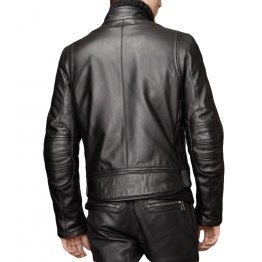 Black Real Motorcycle Leather Jackets for Men