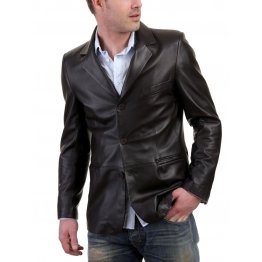 Classic Black Leather Blazer Mens Jacket
