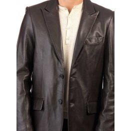 Classic Style Mens Black Casual Leather Coat