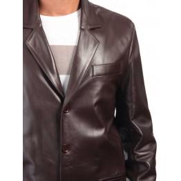 Coat Style Men's Dark Brown Leather Blazer