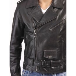 Custom Made Black Leather Biker Jacket for Men