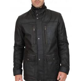 Elegant Black Men's Leather Top Coat