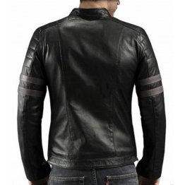 Genuine Black Fitted Motorbike Jacket for Men
