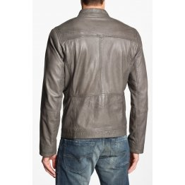 High Quality Mens Grey Leather Biker Style Jacket