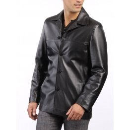 High Quality Soft Lambskin Mens Black Leather shirt