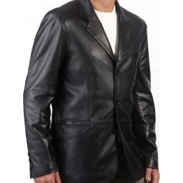 Men's Trendy Black Leather Blazer