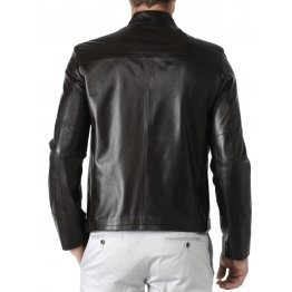 Mens Black Pure Lambskin Leather Jacket