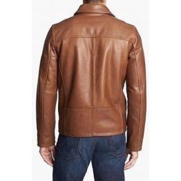 Mens Genuine Slim Fit Brown Leather Jacket