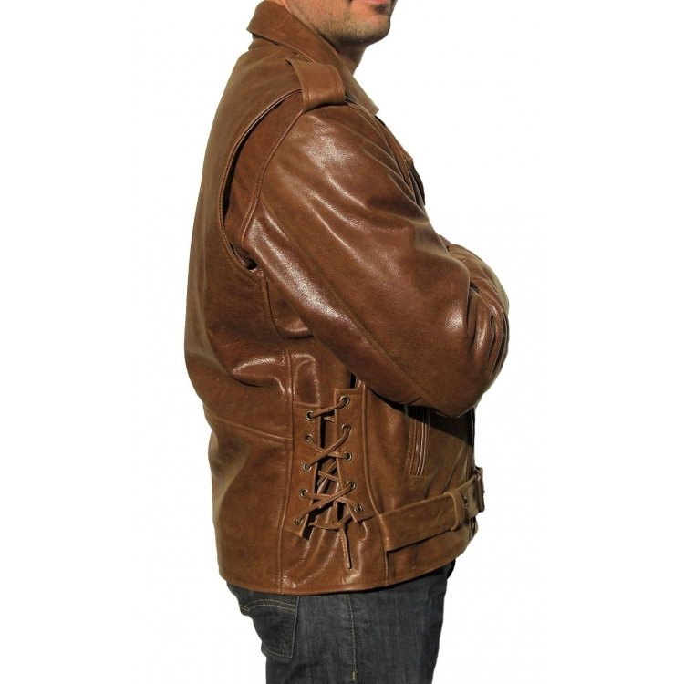 Mens Stylish Brown Leather Motorcycle Jacket