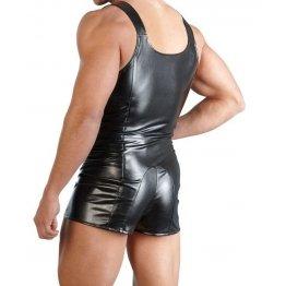 Pure High Quality Black Leather Jumpsuit for Men