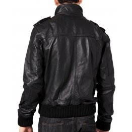 Soft Sheepskin Front Zipped Bomber Jacket Mens Fashion