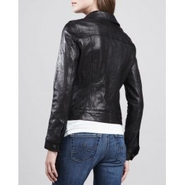 Stylish Moto Black Leather Jacket For Women