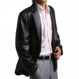 One Button Closure Soft Lambskin Black Leather Blazer Coat for Men