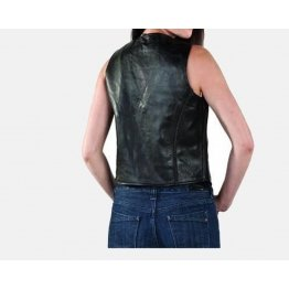 Womens Soft Black Leather Motorcycle Riding Vest