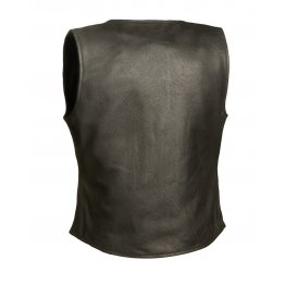 Classic Black Leather Motorcycle Biker vest for Women