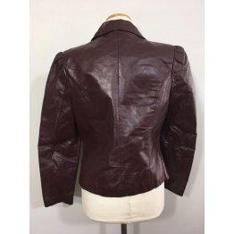 Vintage Brown Leather Blazer for Womens