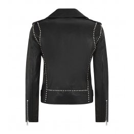 Genuine Ladies Style Black Leather Motorcycle Jacket