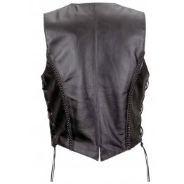 Ladies Sleeveless Black Leather Motorcycle Vest