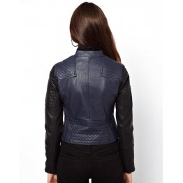 Moto Style Blue Leather Quilted Biker Jacket for Womens