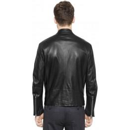 Retro Style Black Moto Leather Riding Jacket for Men