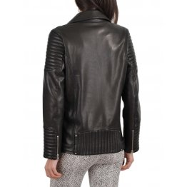 Soft Real Lambskin Black Leather Quilted Motorcycle Jacket for Womens