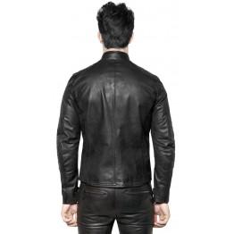 Vintage Black Leather Motorbike Jacket for Men