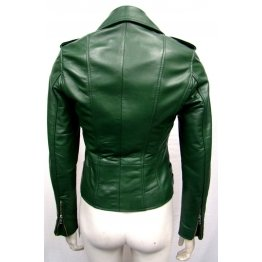 Green Leather Outdoor Motorcycle Jacket for Women