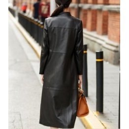 Women Fashion Real Leather Long Trench Winter Coat