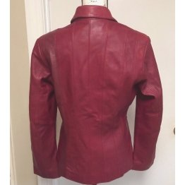Womens Button Down Lined Genuine Leather Maroon Coat