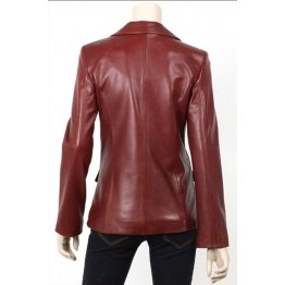 Womens Classic Burgundy Leather Blazer Jacket