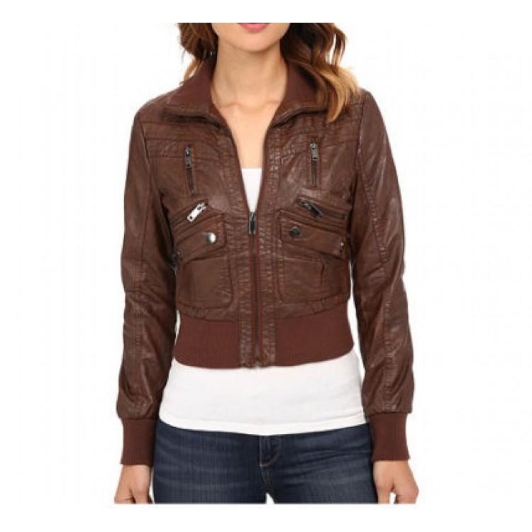 Womens Leather Aviator Jacket Brown Les Baux De Provence