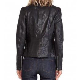 Womens Genuine Soft Lambskin Black Leather Slim Fit Blazer