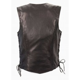 Womens Lightweight Black Leather Basic Side Lace Motorcycle Vest