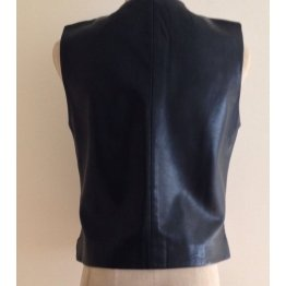 Womens Retro Chic Zip Front Black Leather Biker Vest
