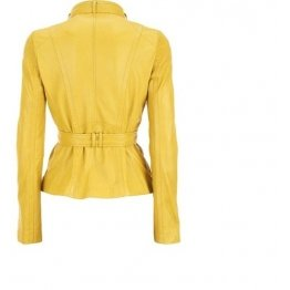 Womens Western Sheepskin Yellow Leather Biker Jacket