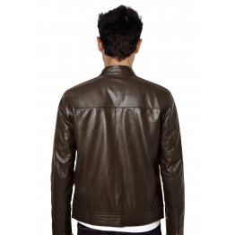 Branded Pure Lambskin Dark Brown Leather Jacket for Mens