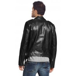 Front Pockets Mens Genuine Black Leather Biker Jacket