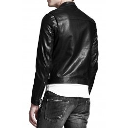 Mens Genuine Lambskin Black and White Sport Leather Jacket