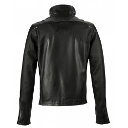 Mens Classic Style Black and Red Leather Jacket