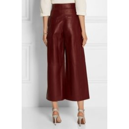 New Fashion Womens Burgundy Leather Culottes Trousers Pants
