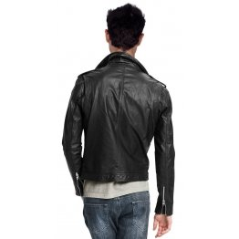 Pure Black Leather Motorcycle Jacket for Men Biker
