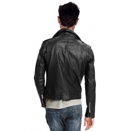 Pure Black Leather Motorcycle Jacket for Men Biker