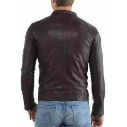 Simple Elegant Dark Brown Mens Leather Jacket