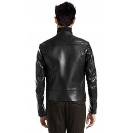 Simple Lightweight Black Leather Riding Jacket for Men