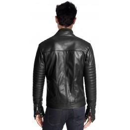 Slim Fit Black Leather Motorcycle Jacket for Men